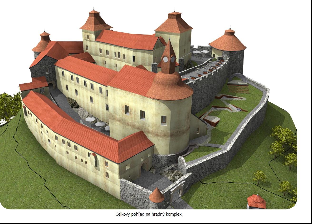 Vizualizácia, celkový pohľad na hrad Krásna Hôrka. Autor návrhu: Ing. arch. Peter Kucharovič