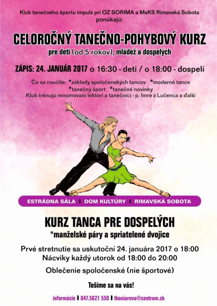 Tanečný kurz - zápis @ estrádna sála Domu kultúry Rimavská Sobota | Slovensko