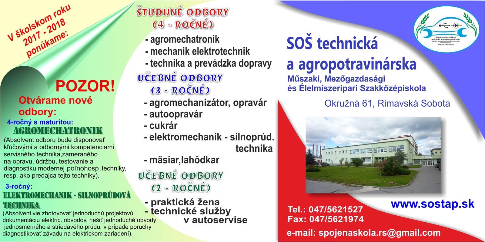 b8757ecee566 SOŠ technická a agropotravinárska otvorí brány verejnosti. Ponúkne ...