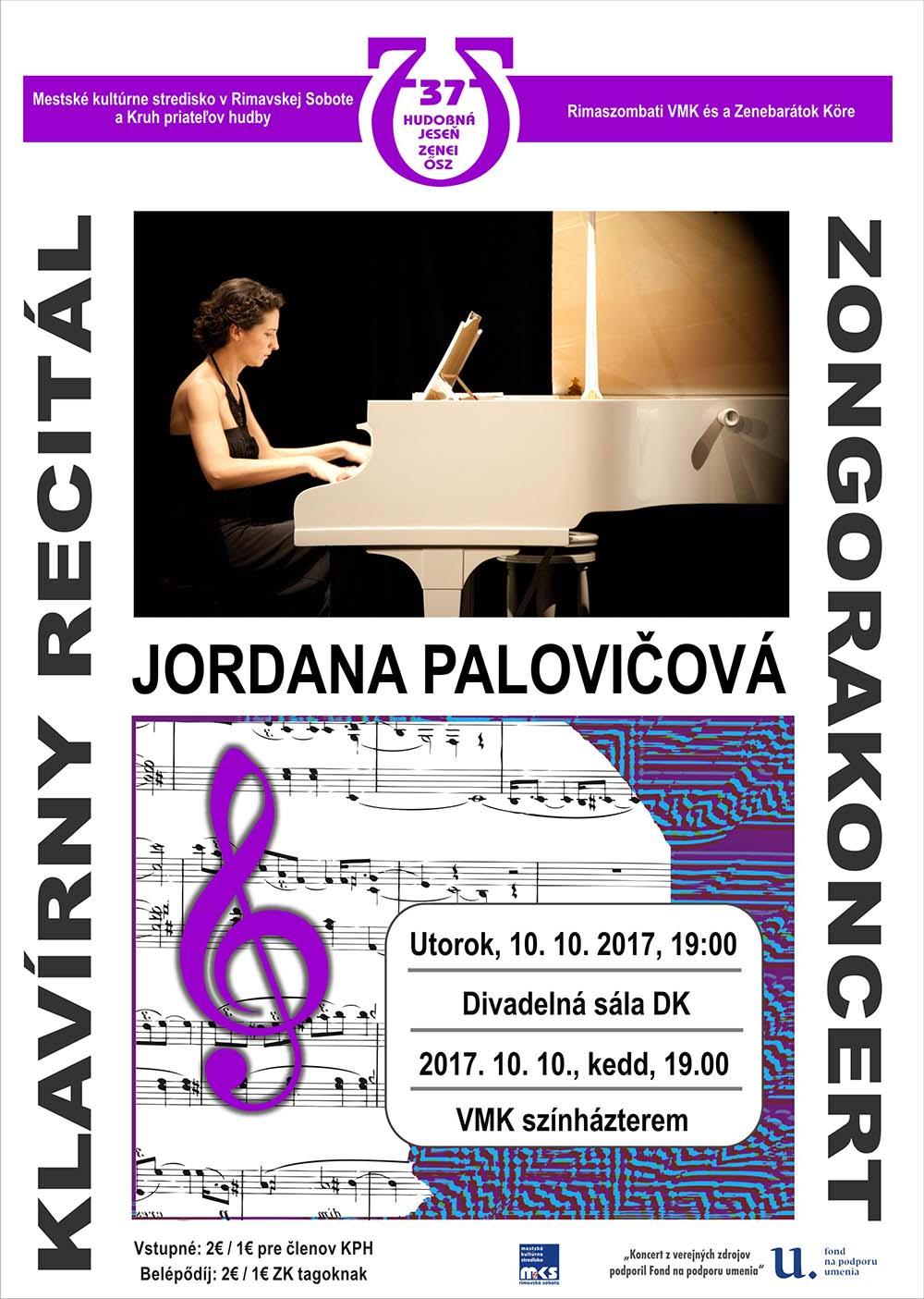 Klavírny recitál Jordany Palovičovej @ Divadelná sála Domu kultúry Rimavská Sobota | Slovensko