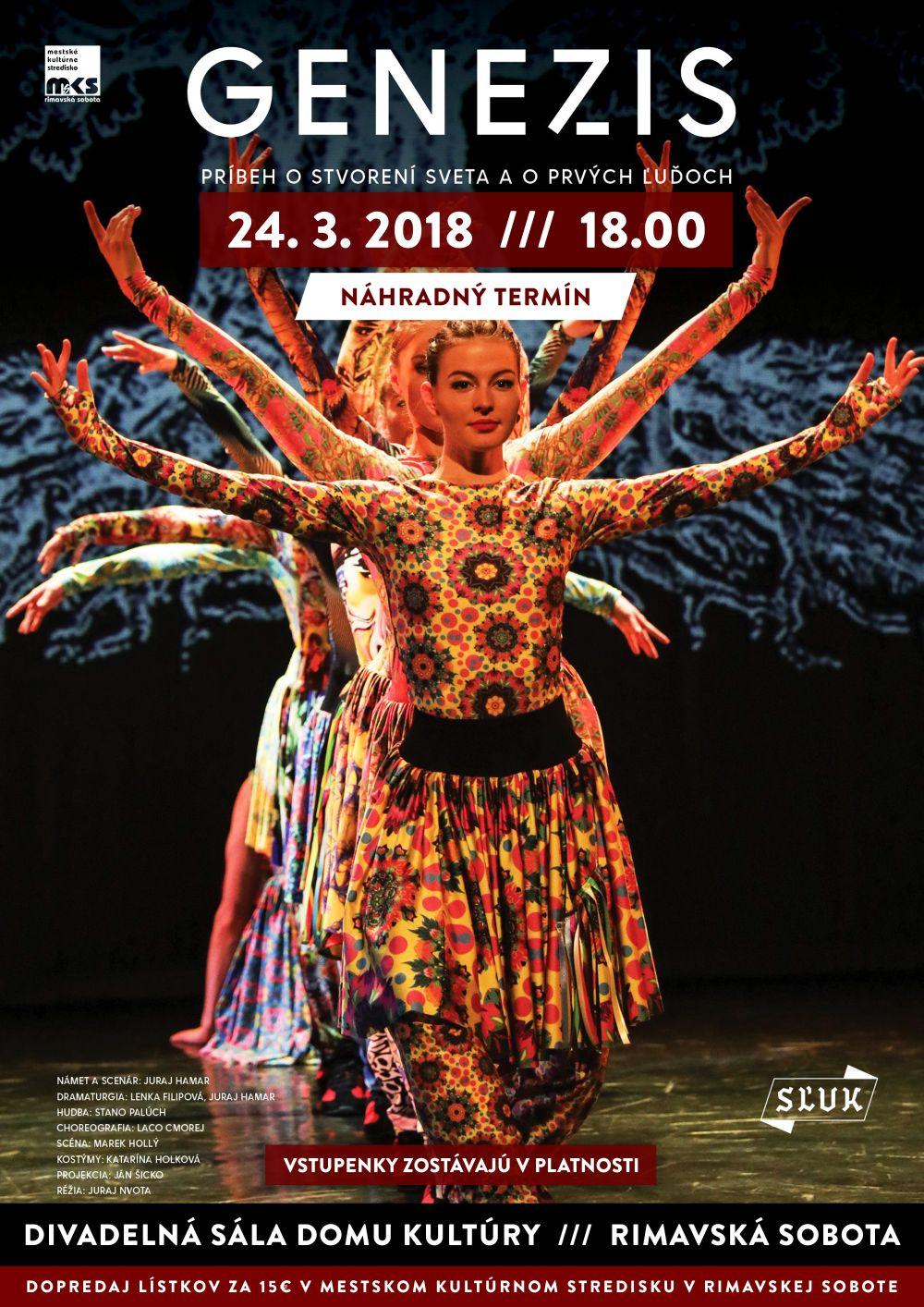 SĽUK: GENEZIS - náhradný termín @ Divadelná sála Domu kultúry Rimavská Sobota