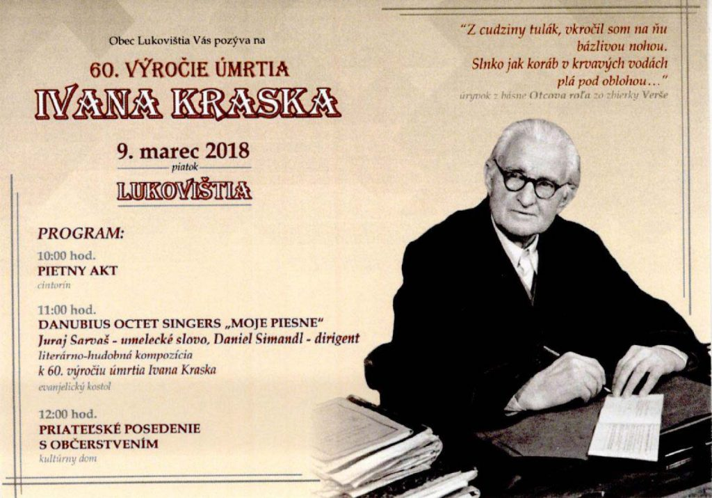 60. výročie úmrtia Ivana Kraska - Lukovištia @ Obec Lukovištia | Lukovištia | Banskobystrický kraj | Slovensko