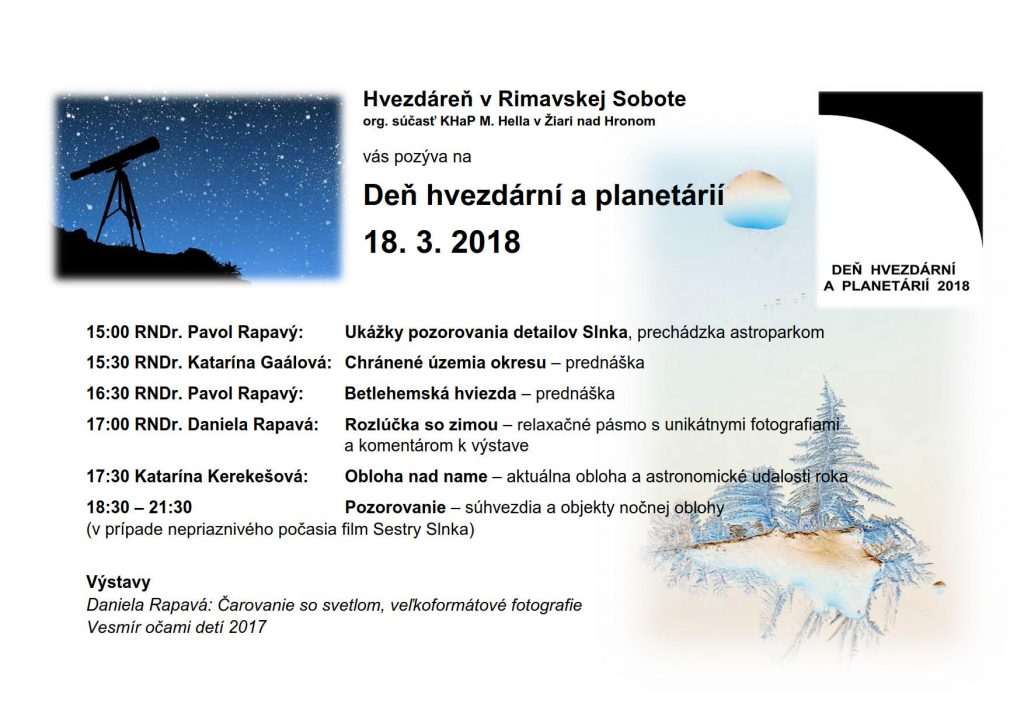 Deň hvezdární a planetárií @ Hvezdáreň Rimavská Sobota | Rimavská Sobota | Banskobystrický kraj | Slovensko