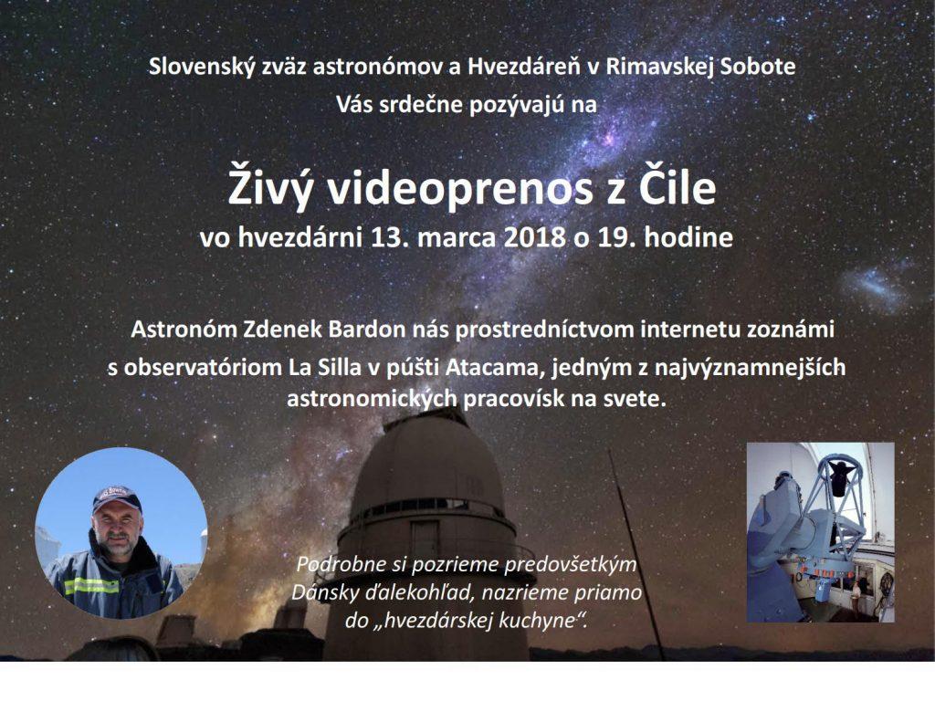 Živý prenos z observatória La Silla v Čile @ Hvezdáreň Rimavská Sobota | Rimavská Sobota | Banskobystrický kraj | Slovensko