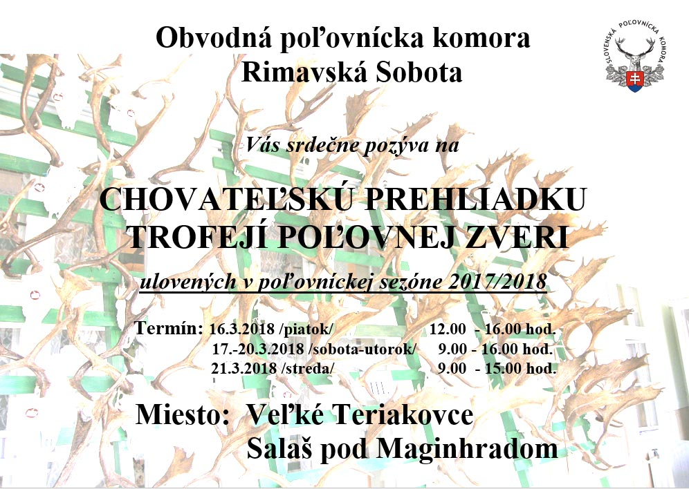 Chovateľská prehliadka poľovníckych trofejí @ Veľké Teriakovce Salaš pod Maginhradom | Veľké Teriakovce | Banskobystrický kraj | Slovensko