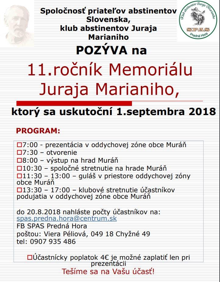 Memoriál Juraja Marianiho @ Muráň | Muráň | Banskobystrický kraj | Slovensko