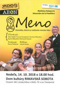 MENO alebo Komédia, ktorá sa našťastie nestala Vám… @ Divadelná sála Domu kultúry Rimavská Sobota | Slovensko