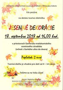 JESENNÉ DEKORÁCIE @ Gemersko-malohontské osvetové stredisko v Rimavskej Sobote, Jesenského 5, 979 01 Rimavská Sobota | Banskobystrický kraj | Slovensko