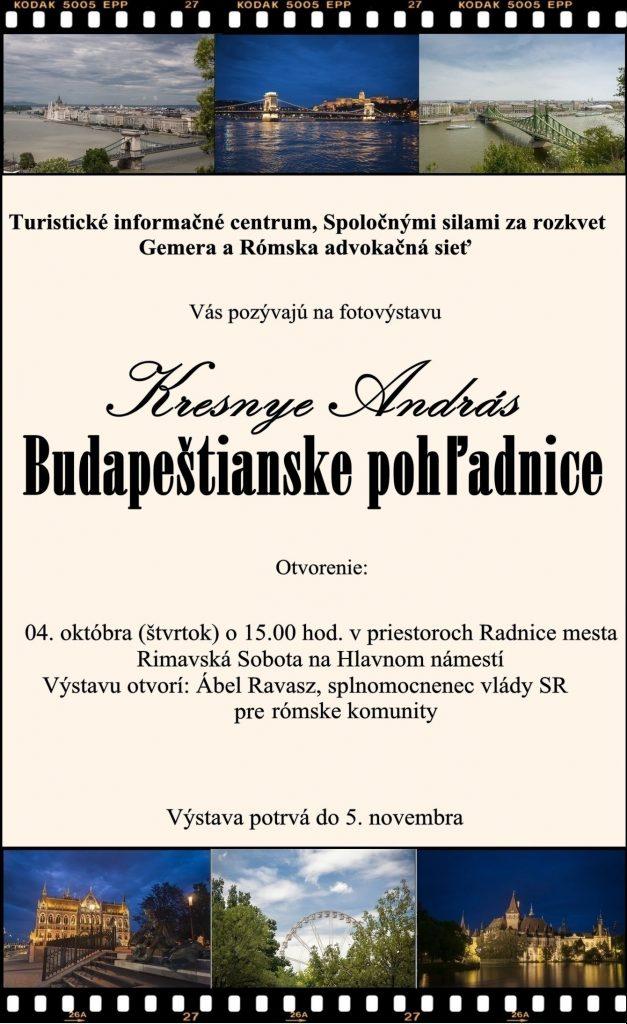 Budapeštianske pohľadnice - fotovýstava Andrása Kresnyeho @ Radnica mesta Rimavská Sobota - Hlavné námestie č. 2. | Banskobystrický kraj | Slovensko