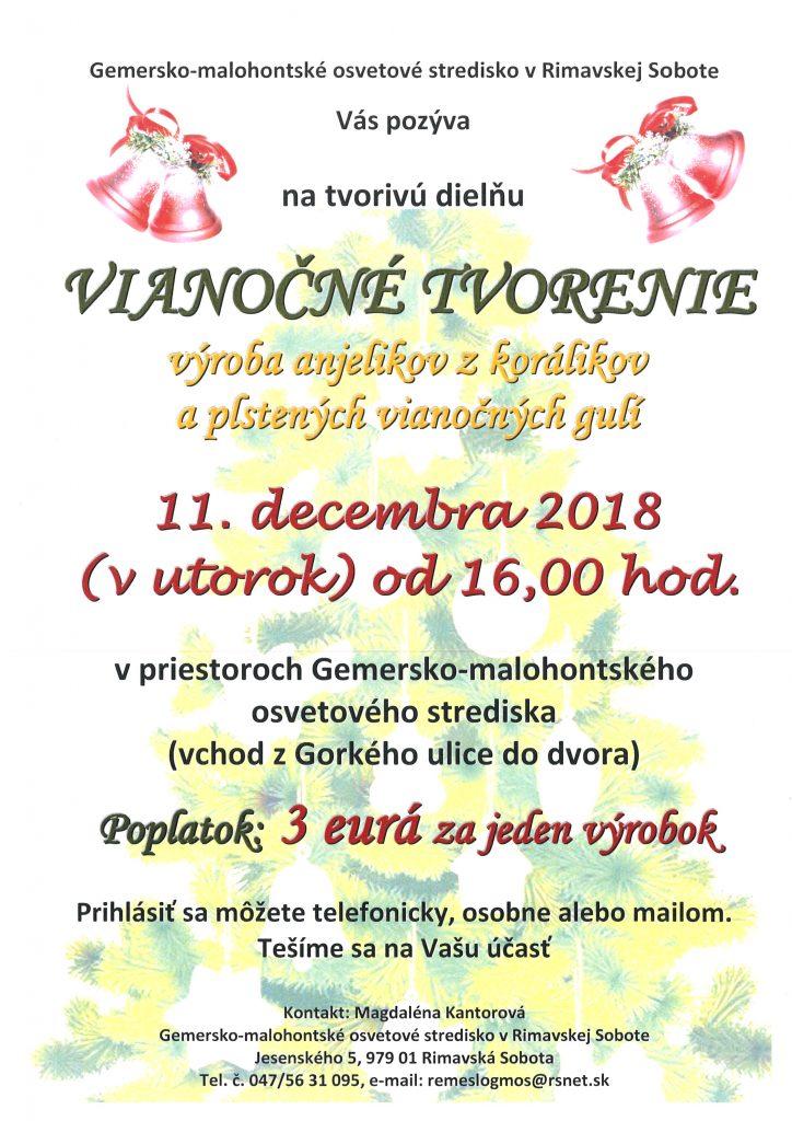 VIANOČNÉ TVORENIE @ Gemersko-malohontské osvetové stredisko v Rimavskej Sobote, Jesenského 5, 979 01 Rimavská Sobota