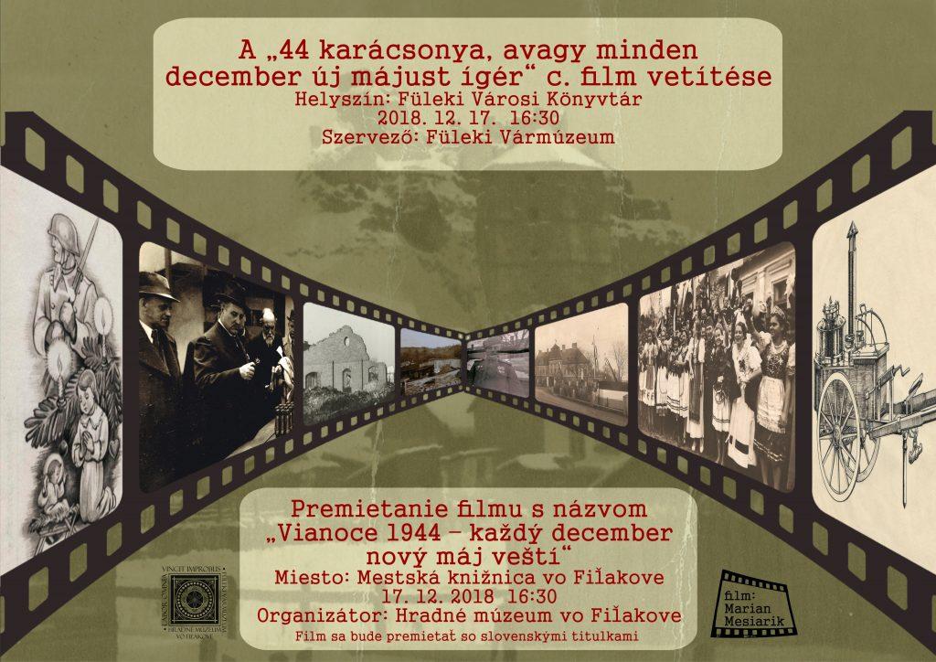 """Premietanie filmu """"Vianoce 1944 – každý december nový máj veští"""" @ Mestská knižnica vo Fiľakove"""