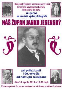 Náš župan Janko Jesenský @ Knižnica Mateja Hrebendu, Hlavné námestie 8, Rimavská Sobota 97901