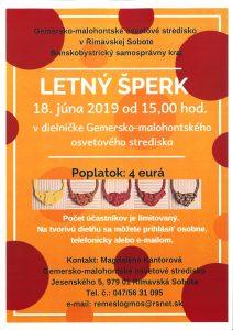 LETNÝ ŠPERK @ Gemersko-malohontské osvetové stredisko v Rimavskej Sobote, Jesenského 5, 979 01 Rimavská Sobota