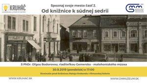 Spoznaj svoje mesto: od knižnice k súdnej sedrii @ Hlavné námestie Rimavská Sobota, stretnutie pred Knižnicou Mateja Hrebendu