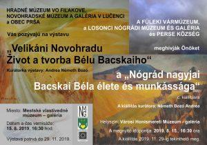 """""""Velikáni Novohradu - život a tvorba Bélu Bacskaiho"""" @ Mestské vlastivedné múzeum - gaéria"""