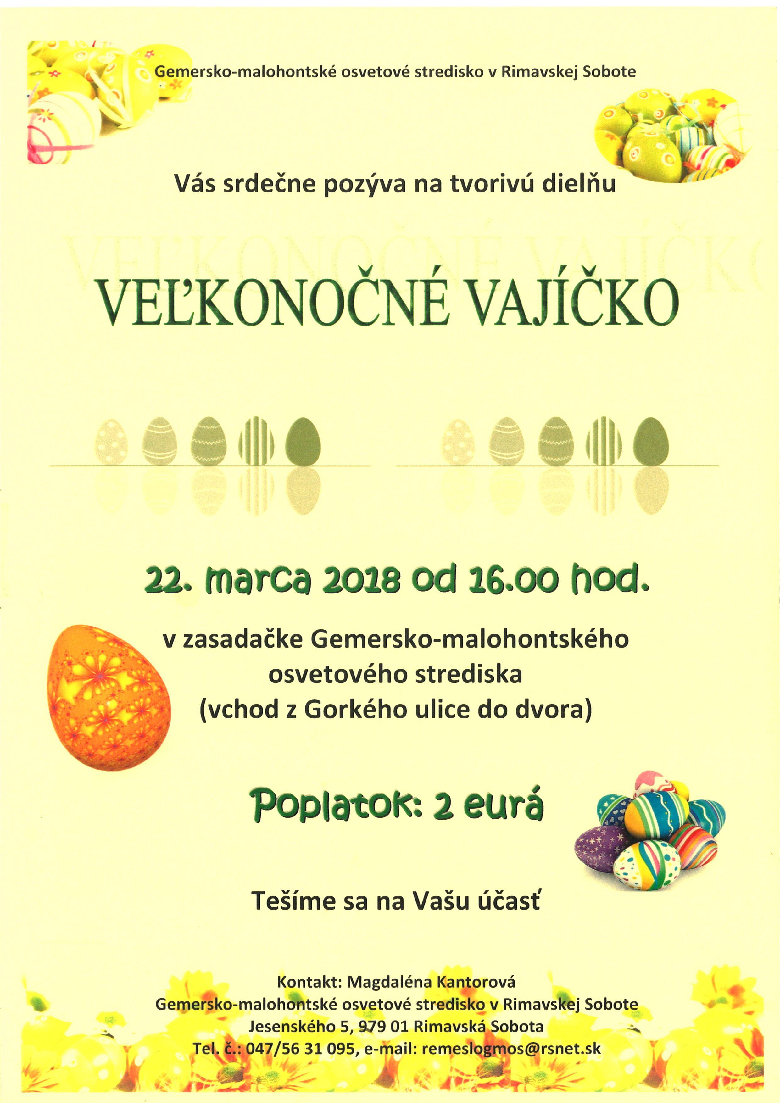 VEĽKONOČNÉ VAJÍČKO @ Gemersko-malohontské osvetové stredisko v Rimavskej Sobote | Banskobystrický kraj | Slovensko