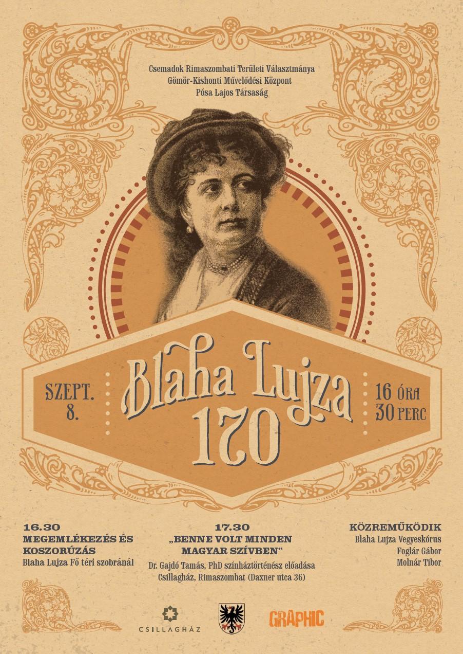 Blaha Lujza 170 - kladenie vencov a prednáška v maďarskom jazyku pri príležitosti 170.výročia narodenia @ Fő tér-Hlavné námestie / Csillagház-Hviezdny dom, Daxnerova 36, Rimavská Sobota
