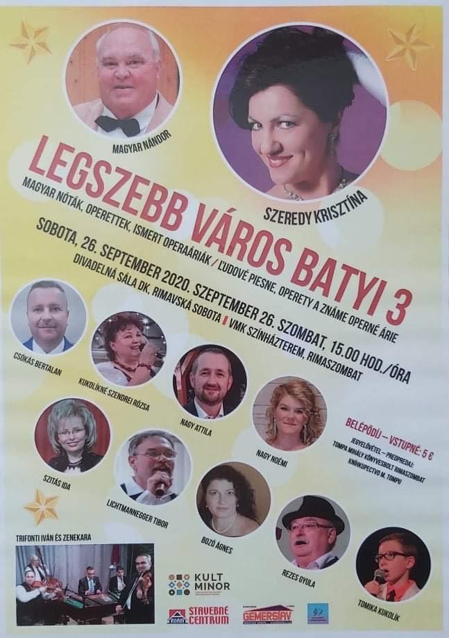 Legszebb város batyi 3 @ VMK Színházterem, Rimaszombat–Námestie Š. M. Daxnera, 97901 Rimaszombat, 979 01