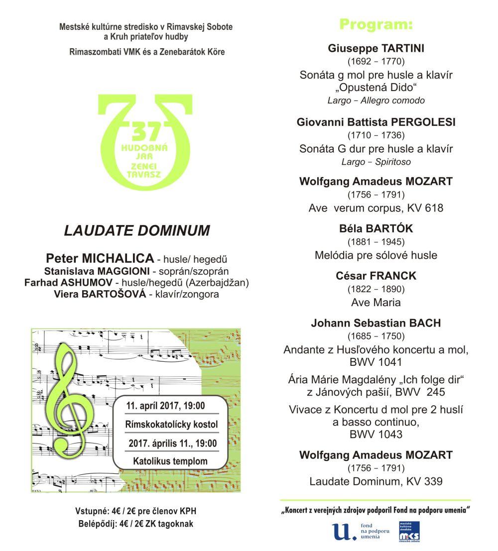 Veľkonočný koncert LAUDATE DOMINUM @ Rimskokatolícky Kostol sv. Jána Krstiteľa, Hlavné námestie