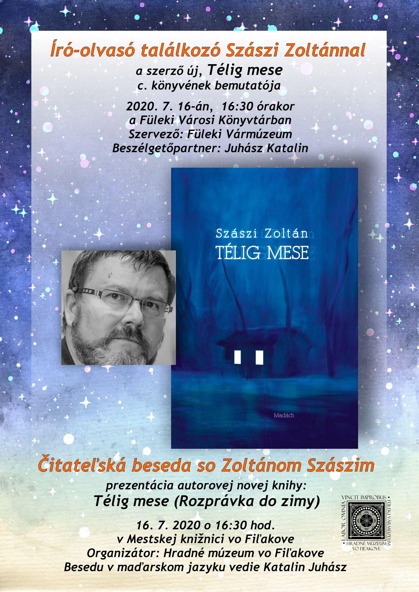 Čitateľská beseda so Zoltánom Szászim @ Mestská knižnica vo Fiľakove, Hlavná ul. 14