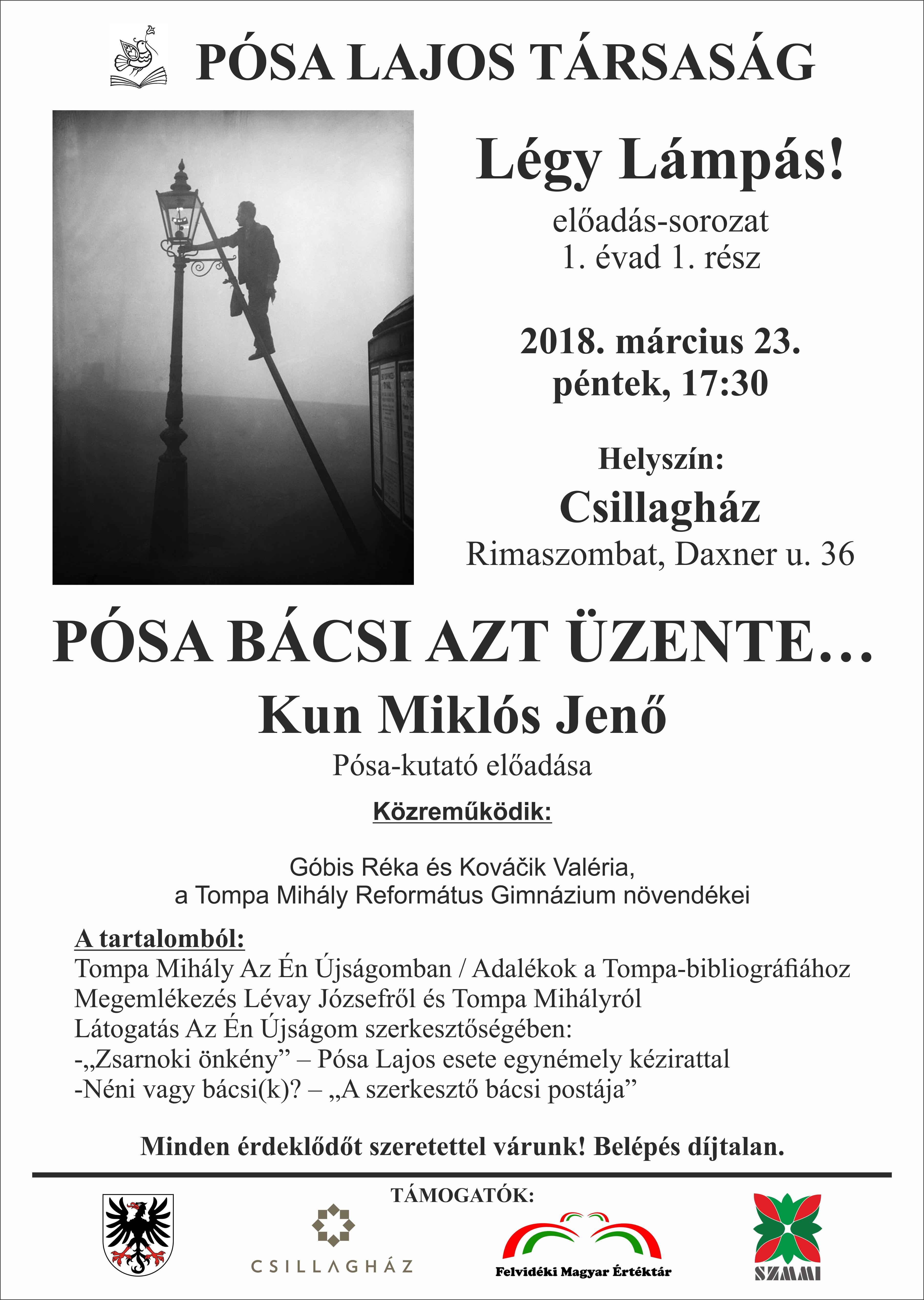 Kun Miklós Jenő : Pósa bácsi azt üzente... c. előadása/ Prednáška v maďarskom jazyku @ Csillagház / Hviezdny dom, Rimavská Sobota, Daxnerova ulica č.36