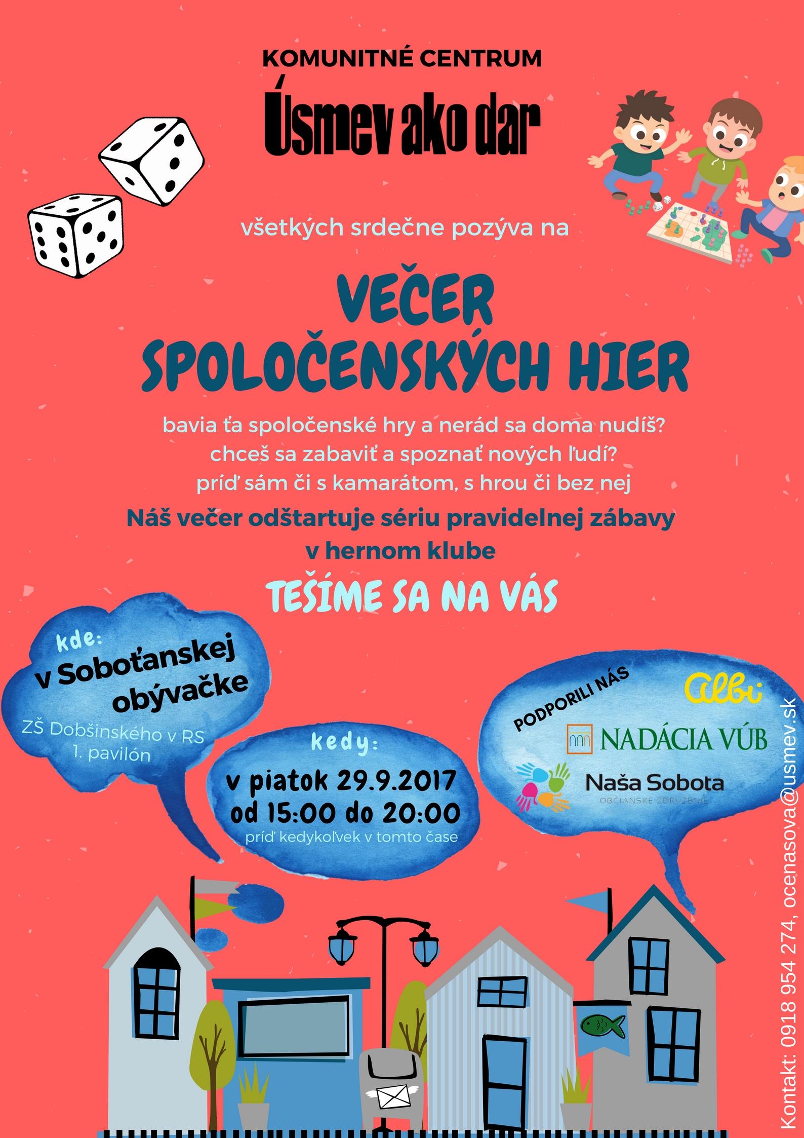 Večer spoločenských hier @ Soboťanská obývačka- ZŠ Dobšinského, 1.pavilón, prvá bránička